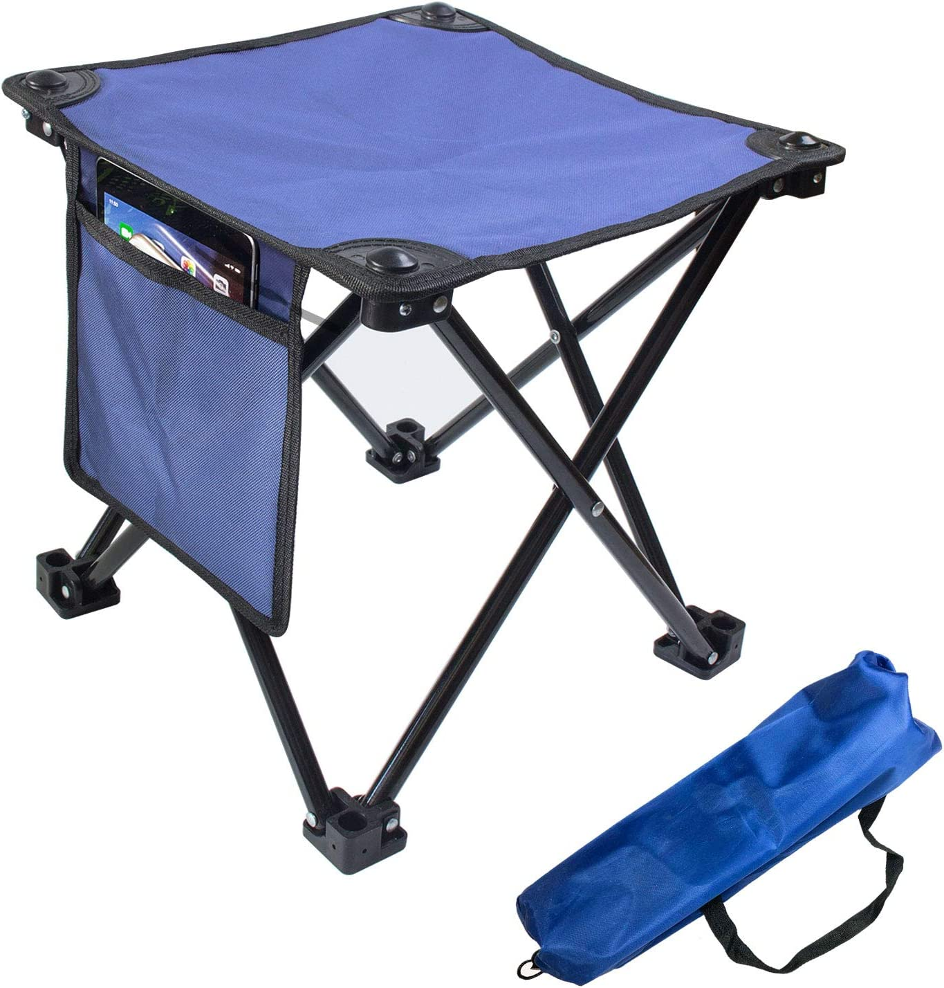 KOVALENTHOR Traveling Comfortable Retractable Stool Black Seat for Outdoor and Indoor Using for Garden Patio Fishing Camping Portable Lightweight Plastic Folding Telescoping Stool