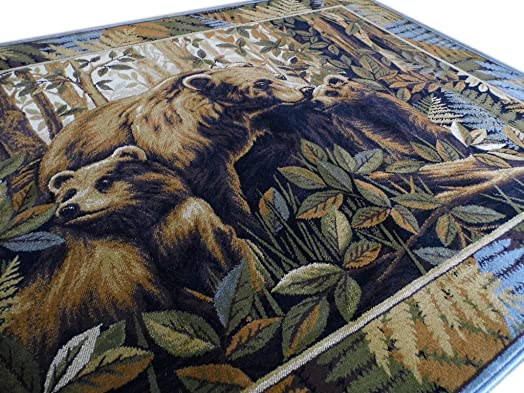 Area Rug Bear and Cubs Scene 7 Feet 7 Inch X 10 Feet 6 Inch