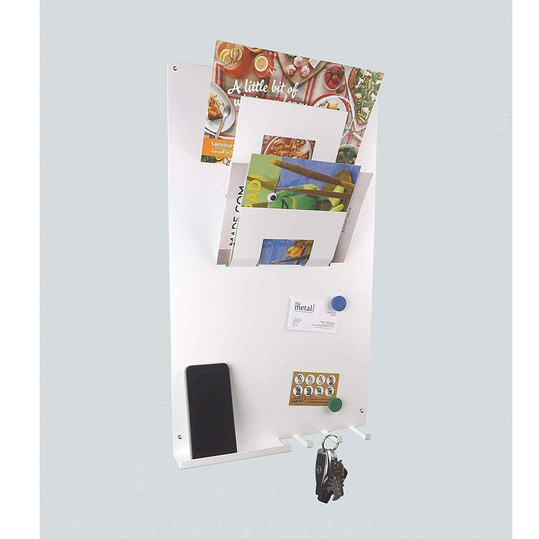 3 in 1 da parete Memo Board-Portalettere e appendichiavi, colore: bianco themetalhouse.co.uk
