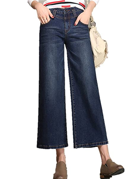 delicate colors top-rated discount 2019 hot sale dextrad Hot Women's Blue Straight Wide Leg Flare Jeans Denim ...