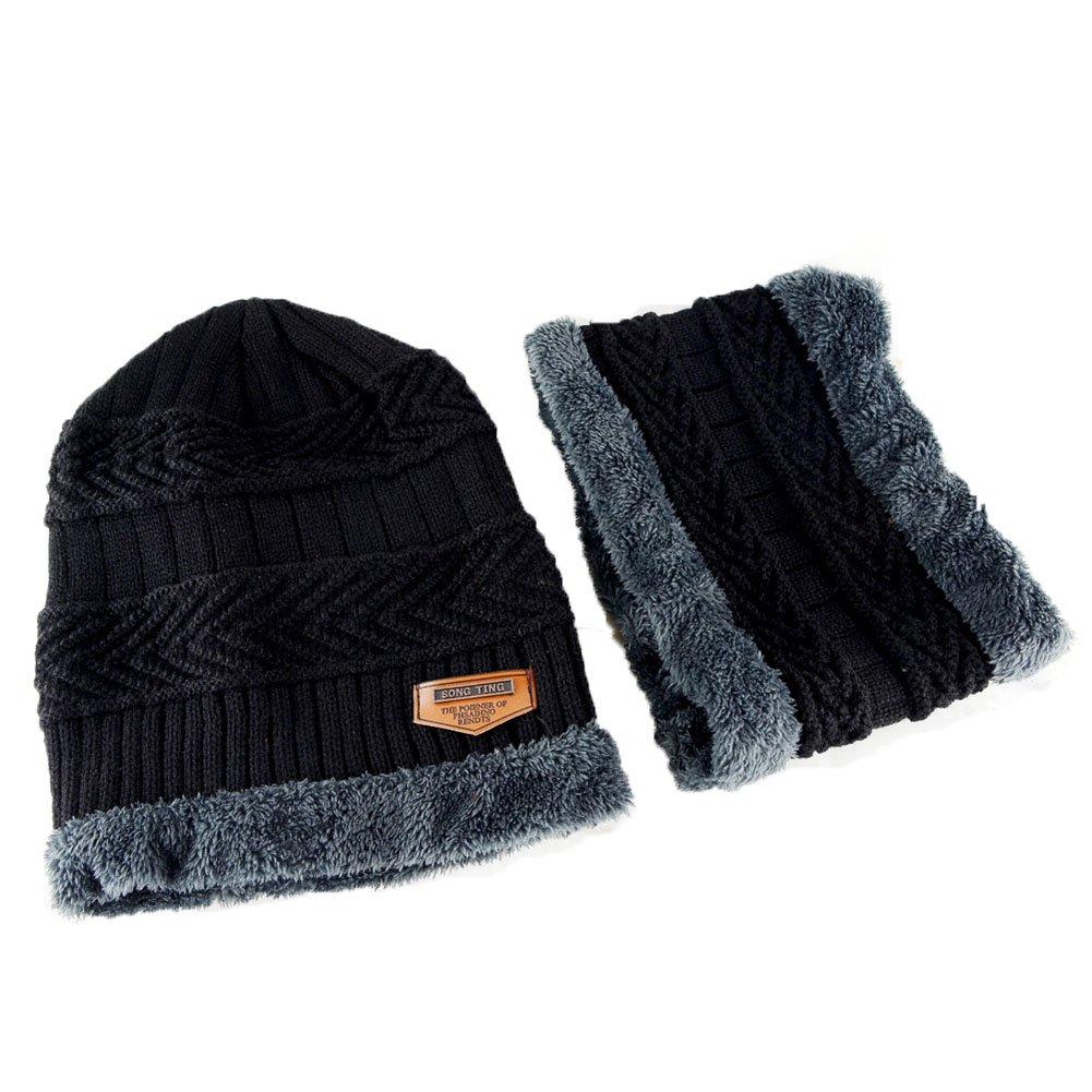 2a70ef114 Adult-Child Winter Slouchy Beanie Hat Scarf Set Warm Knit Hat Skull ...