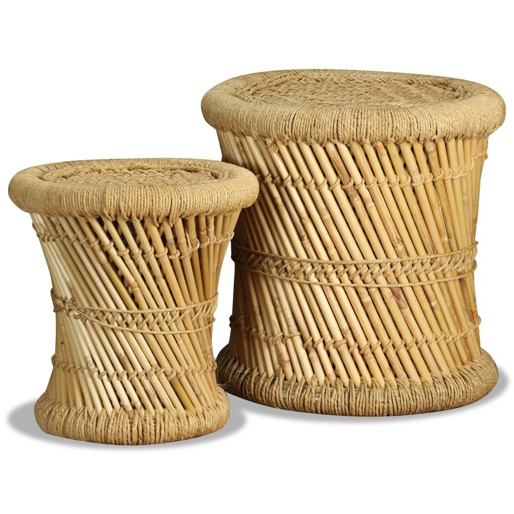 Set Taburetes 2 Piezas Bambú