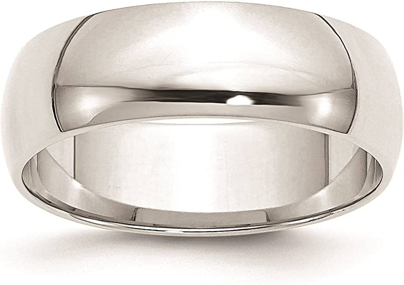10k White Gold 2mm Half Round Wedding Ring Band Size 4-14 Full /& Half Sizes