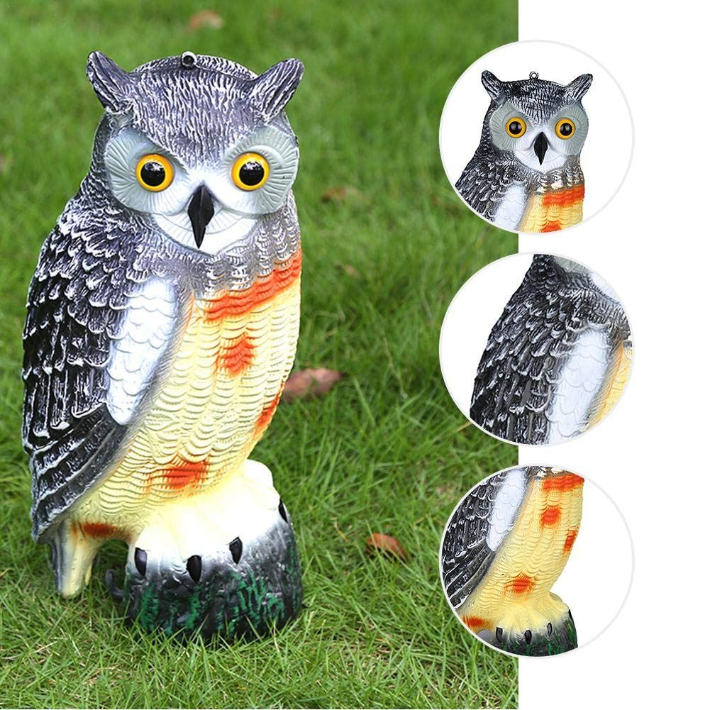 Mice BDRateful Owl Decoy Garden Fake Owl Decoys with Rotating Head Garden Bird Repellent Squirrels for Birds Rabbits /& more