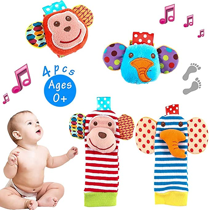 4x Baby Infant Developmental Soft Wrist Strap Foot Socks Rattle Bug Finders Toy