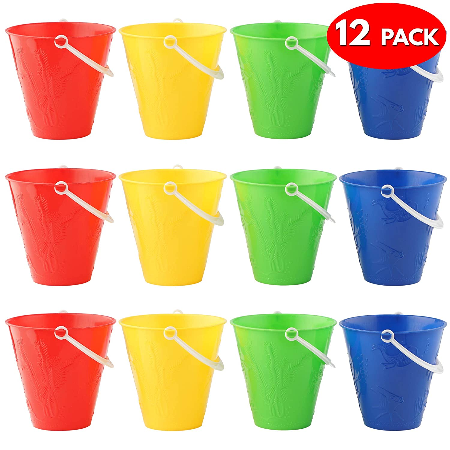 12 Brightly Coloured Buckets - Assorted Colours - Ideal for Beach, Park or Sandpit - bargain wholesale, great savings - buy bulk bucket for a more fun beach party - Red, Blue, Green, Yellow. Bramble