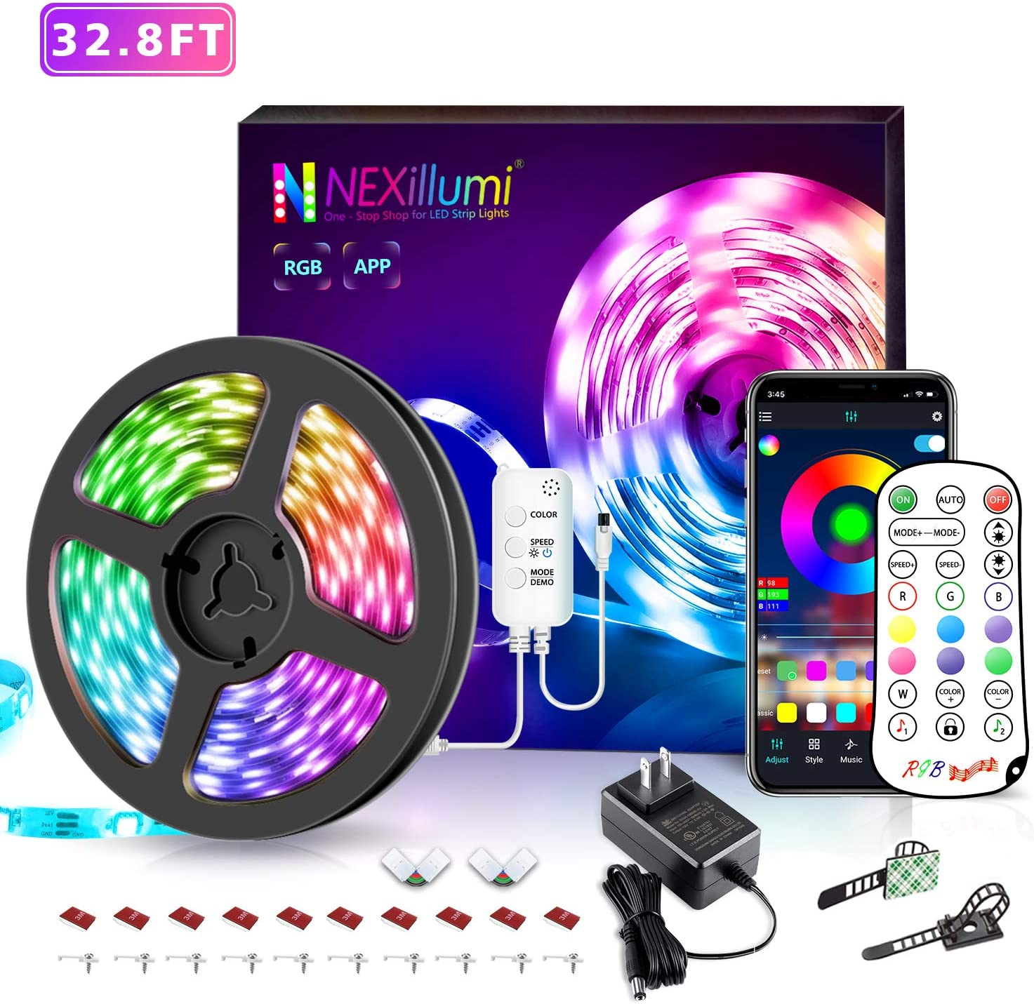 32.8 ft LED Strip Lights Music Sync LED Lights for Bedroom with IR Remote App Controlled with Built-in Mic Color Changing 5050 RGB LED Light Strip (32.8Ft APP+ Remote+ Mic)