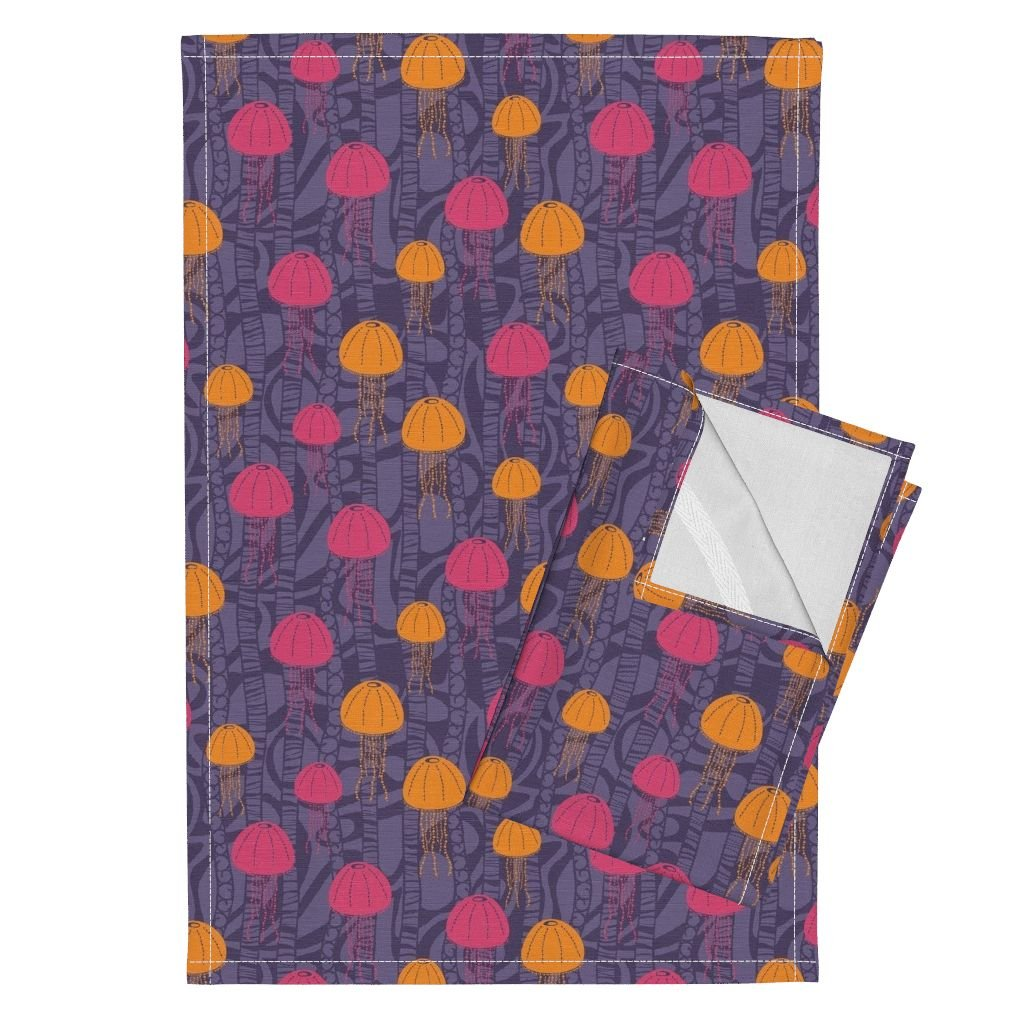 Jellyfish Retro Funky Sea Creature Animals Abstract Geometric Tea Towels Jumping Jellies by Robyriker Set of 2 Linen Cotton Tea Towels by Roostery
