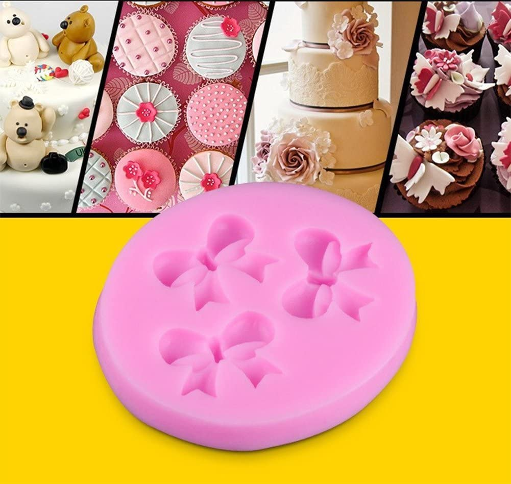 Dosige 1 x Silikon Handgemachte Seifenform Kuchenform Kuchen Form Eisform mit 3 Bowknot Form