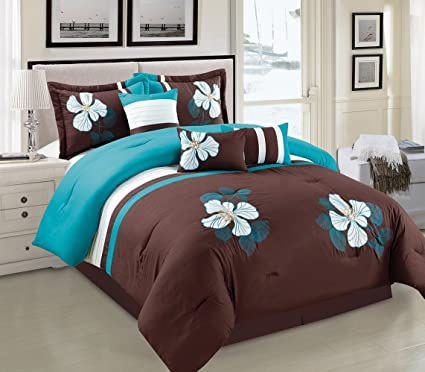 Amazon.com: Turquoise Blue, Brown and White Comforter Set Floral Bed ...