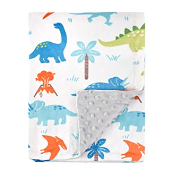Dinosaur Cuddle Fleece Material Double Sided Super Soft Fabric Baby Pet Blanket