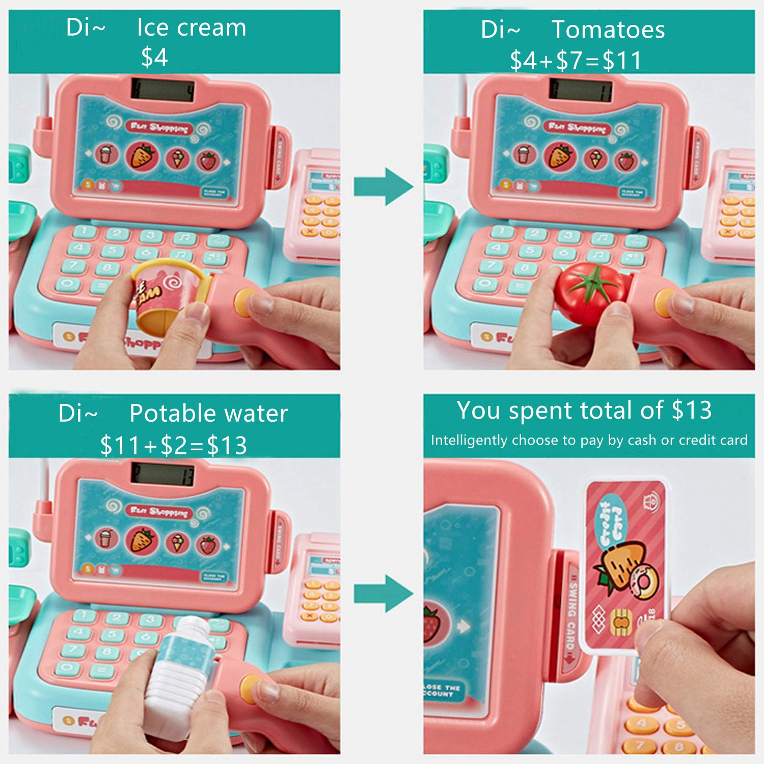 YYoomi Pretend Play Educational Cash Register Toy Classic Counting Toy with Microphone/ Calculator/ Scanner/ Sound/ Music for Kids & Toddlers & Preschoolers by YYoomi (Image #4)