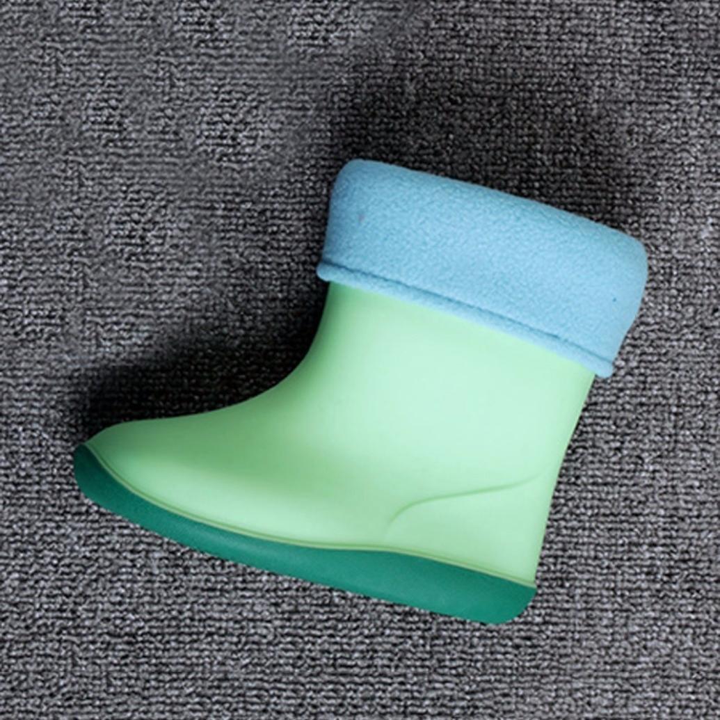 Age:2.5-3T Blue, US:8.0 Waterproof Child Rubber Rainy Boots Weiyun Unisex Baby Kids Anti-Slip Warm Villus Rain Shoes 2.5~6T