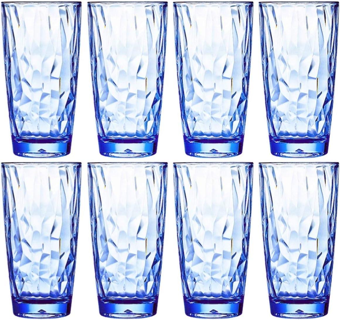 16 Oz 8-Piece Premium Unbreakable Drinking Glasses Plastic Tumblers Dishwasher Safe BPA Free Acrylic Juice Glasses Highball Water Glasses (Blue)