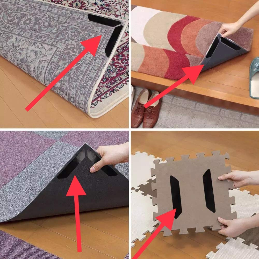SATIN BOTANICALS Carpet Grippers 8 Piece Set, Hold Rugs in Place, Anti-Curling, Prevents Slipping, Reusable and Washable