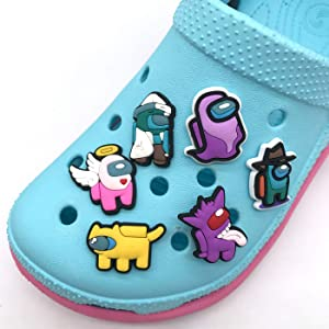 6pcs Among Us Crocs Charms Crewmates Button Charms for Shoes,Trendy game shoe charms, cute pins for crocs for Kids, Trendy Charms for crocs Decoration