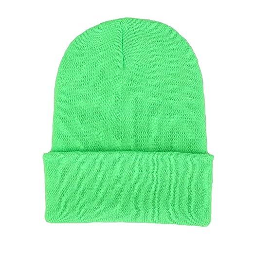 0637c2b78 CANCA Unisex Cuff Warm Winter Hat Knit Plain Skull Beanie Toboggan Knit  Hat/Cap (Light Green)