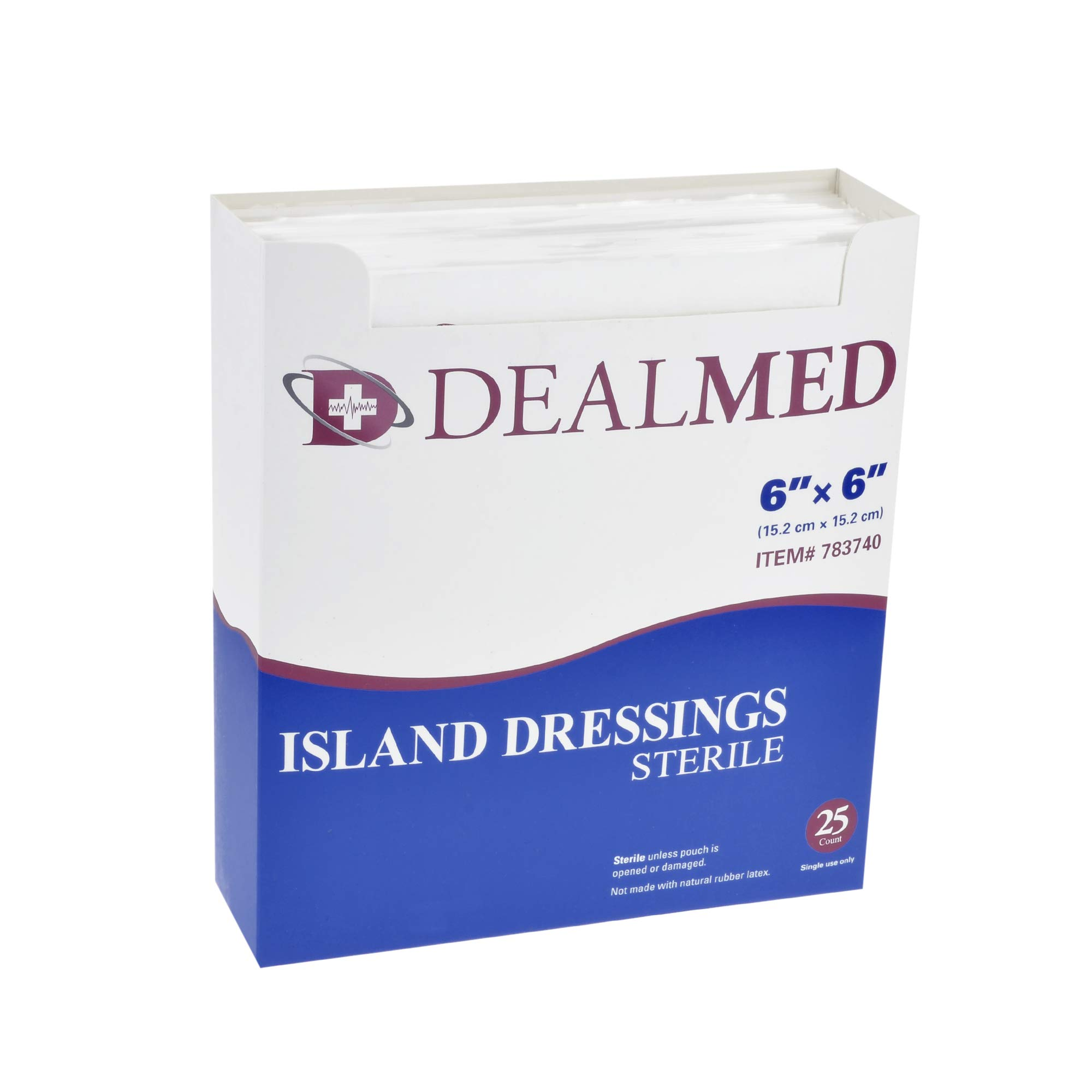 Dealmed Sterile Bordered Gauze Island Dressings, Non-Stick, Latex-Free, 6'' x 6'', 25 Count