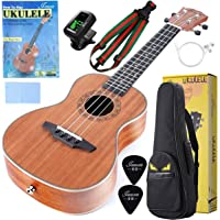 "Concert Ukulele For Beginners 23"" Mahogany Ukulele Kit with Ukelele Tuner,Stap,String,Picks,Waterproof bag&Book,Free Video/Online Lessons"