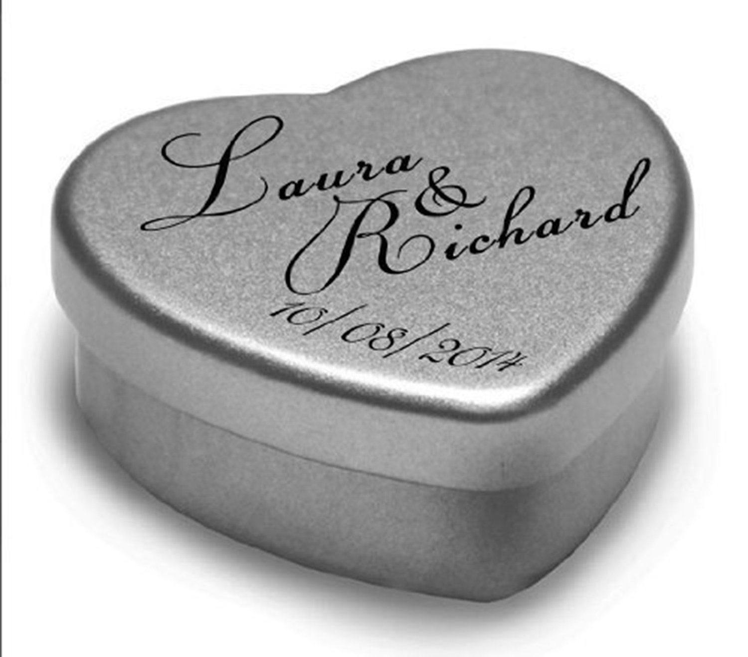 1 Luxury Personalised Heart Shaped Wedding Favour makes the Perfect Party Gift Memento Keepsake. Tins are filled with Mints, Chocolates, or Sweets. Gift In Can Ltd