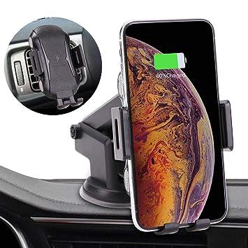 LONOSUN Cargador Inalámbrico Coche, 10W Carga Rápida y Soporte Móvil Aplicable a Rejillas del Aire para iPhone X/XS/XR/8/8, Samsung s10/s10+/s9/s8 ...