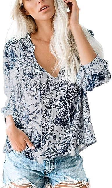 Camisa Suelta Floral de Mujer Cuello en V Manga Larga Camisetas Blusas Casuales Tops Largos Boho Flores Armada M: Amazon.es: Ropa y accesorios