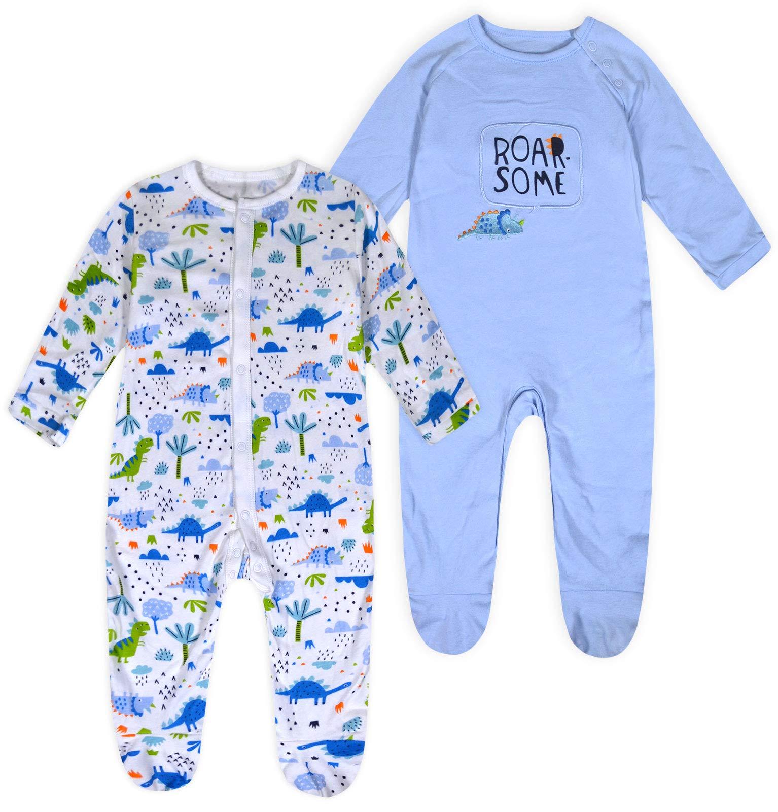 Ex Store Baby Boys Elephant Zoo Star Sleepsuits x 3 Age N//B 0 3 6 9 12 Months