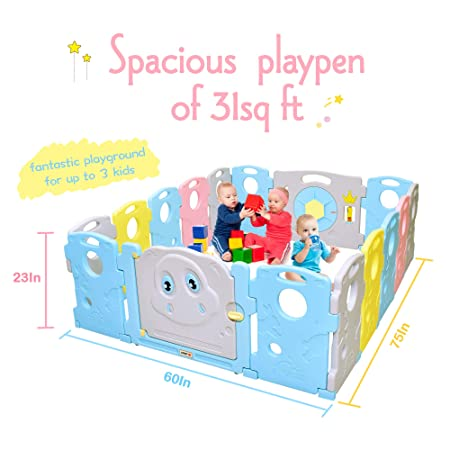 Baby Playpen – Kids 16 Panel Activity Centre Safety Play Yard, Home Indoor Outdoor New Pen Multicolour,Tortoise and Hare Themed Set