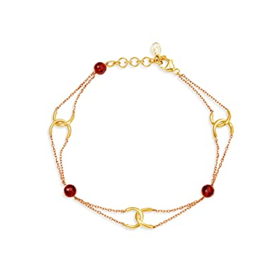 04f4eb6d9 Mia by Tanishq 14KT Two Colour Gold and Garnet Bracelet for Women:  Amazon.in: Jewellery