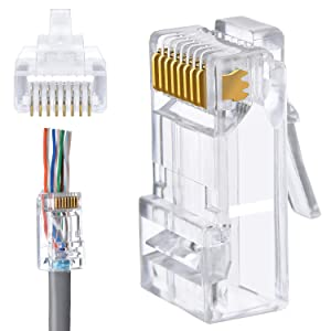 RJ45 Cat6 LAN Connector, with Pass Through Hole 8P8C (8 Pins,8 Cores) UTP Cat5e Cat6 Cat6A for Unshielded Twisted Pair Solid Wire & Standard Cables 50PCS