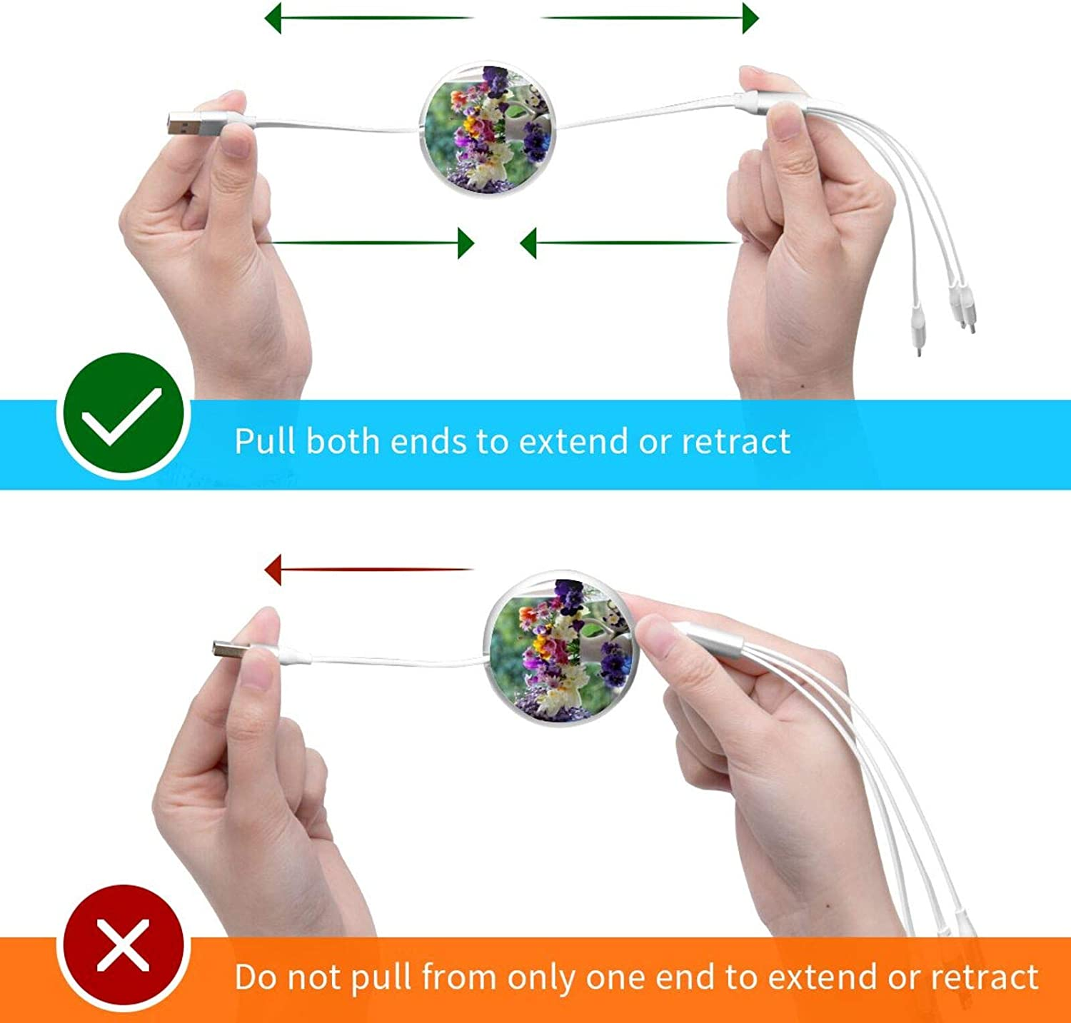 3-in-1 Retractable USB Charging Cable Flower Plants Fast Charging Universal Multi Charger Cord Compatible with Cell Phones Tablets Universal Use