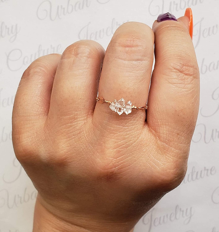 Ladies Genuine Tiny Gold Anniversary Rings Womens Minimalist Bohemian Jewelry Dainty Herkimer Diamond Ring Rose Gold Chain Ring
