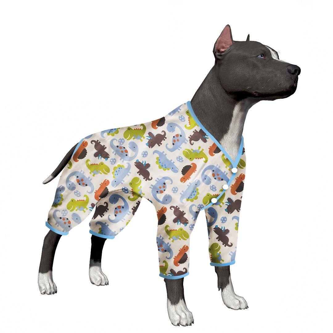LovinPet Large Dog Clothes Post Surgery Wear Pet Shirts Cotton Dinosaur Dog Pajamas Soft Dog Shirt for Pitbull Labrador Retriever Boxer (Please Read Description) by LovinPet