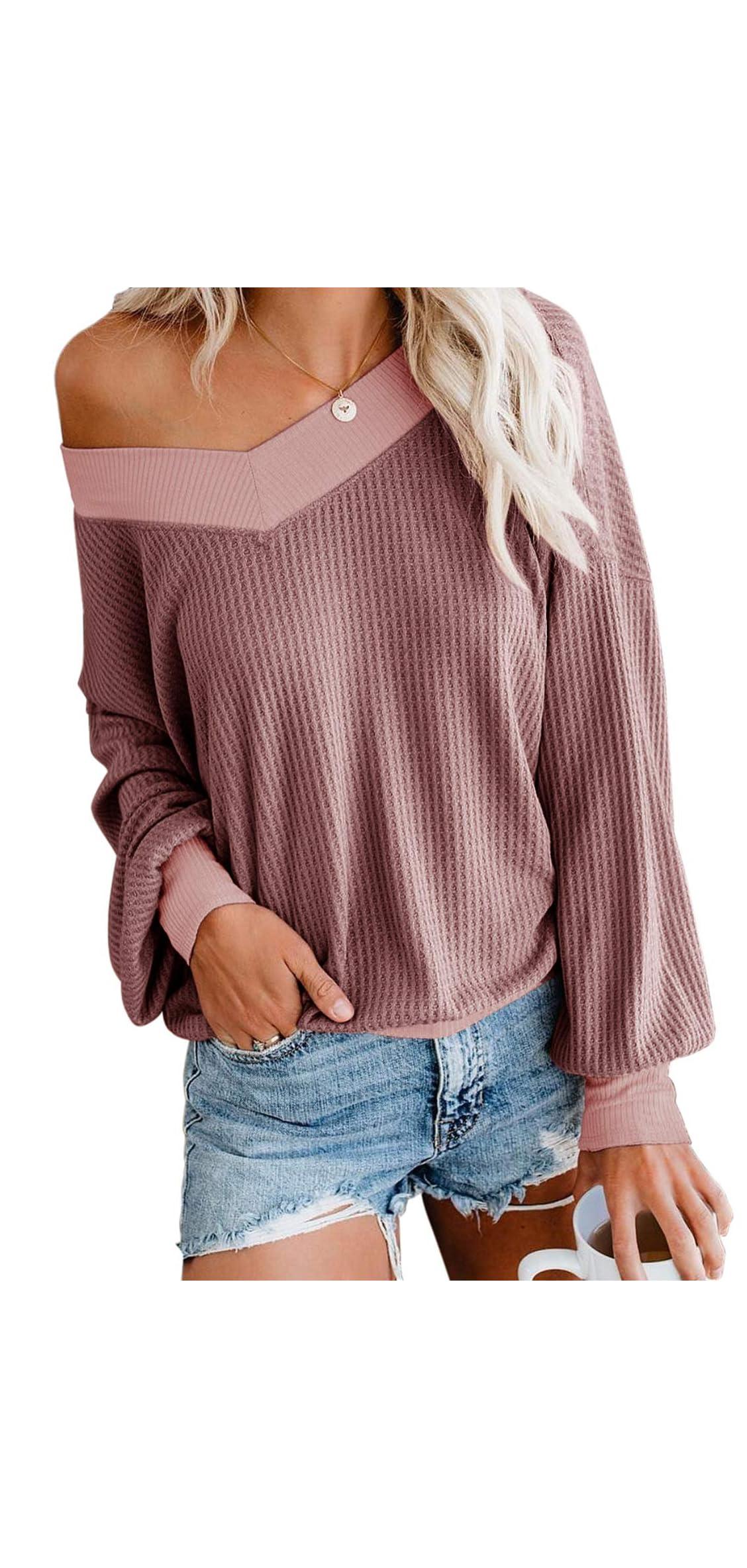 Women's V Neck Long Sleeve Waffle Knit Top Off Shoulder