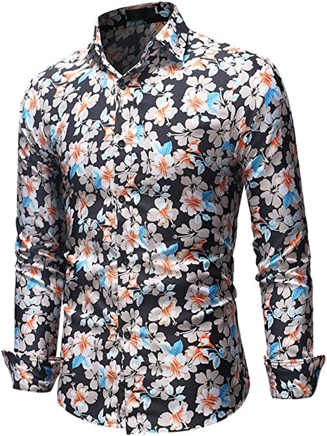 Hombre Camisa Flor Estampada Casual Slim Fit Manga Larga Tops,Black,XXXL: Amazon.es: Deportes y aire libre