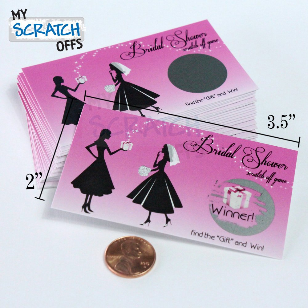 Amazon.com: Bridal Shower My Scratch Offs Game Card Ticket Pink ...