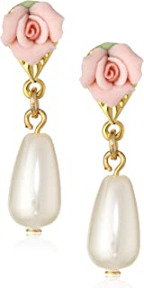 product image for 1928 Jewelry Porcelain Rose Pearl Drop Earrings