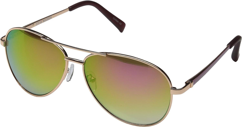 5d9cbd7c2d2 Amazon.com  Steve Madden Womens Flat Lens Aviator Sunglasses SM462123  Gold Gold  Clothing