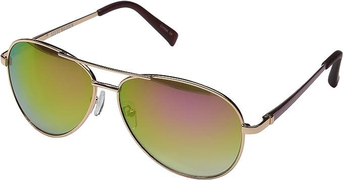 new styles 9f223 6ae3e Steve Madden Flat Lens Aviator Damen Sonnenbrille Gold ...