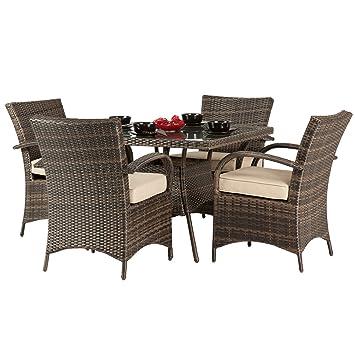 dallas 4 seater rattan dining set brown rattan garden furniture set 4 seater dining