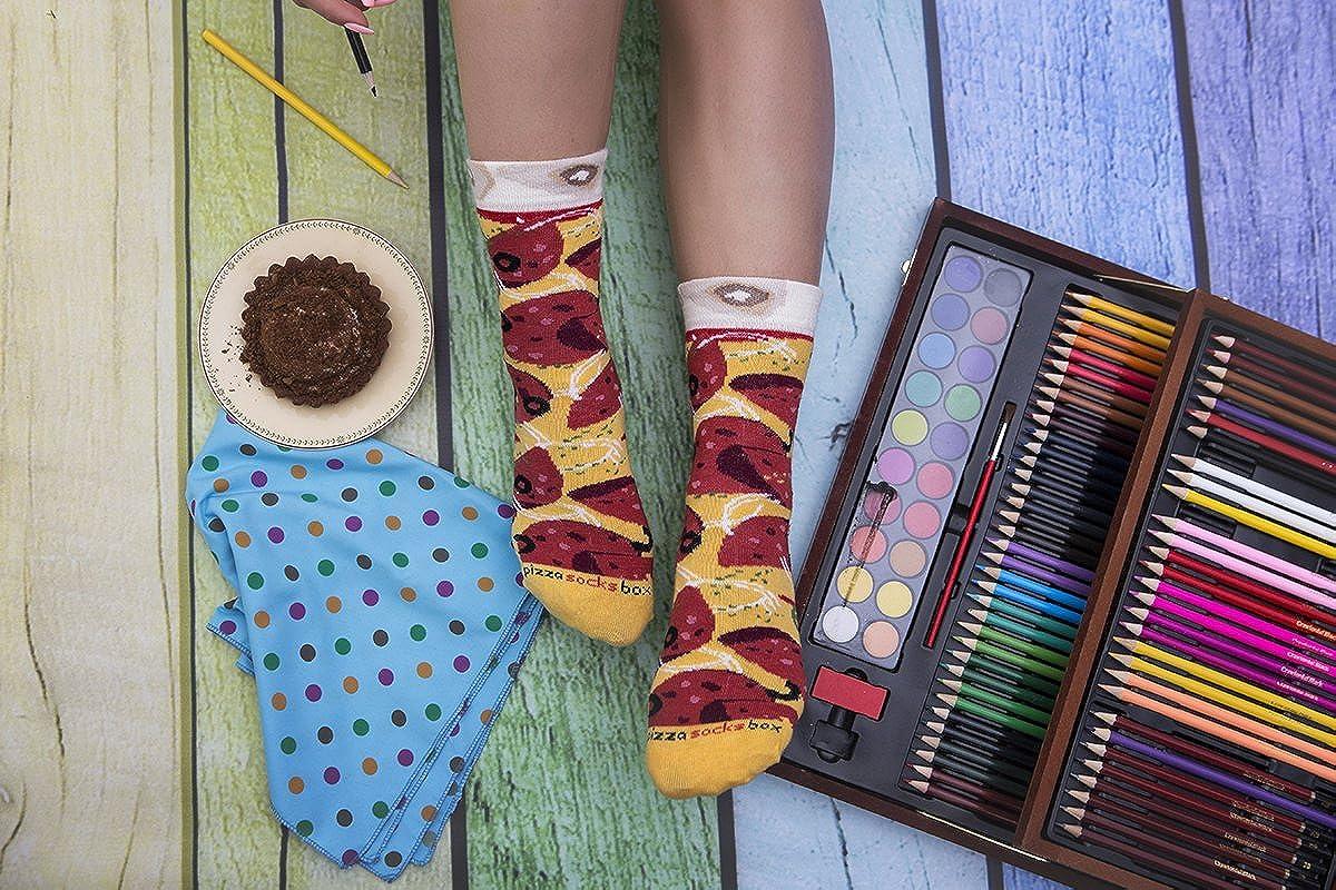 Pizza Socks Box Pepperoni 4 Pairs Cotton Dress Socks Funny Gift Unisex