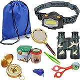 HomDSim 9-in-1 Outdoor Explorer Kit for Kids,Children Adventurer Exploration Equipment Set,Fun Backyard Bug Catching Adventure Set,Camping,Hunting,Hiking & Bird Watching,Pretend Play,Binoculars,LED Headlight,Compass,Magnifying Glass