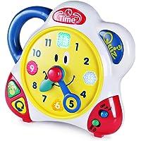 Happkid Lernuhr Spielzeug Pädagogische Lehruhr mit interaktiver Musik und Quizmodus für Kleinkinder, Zeitlernspielzeug für Kinder