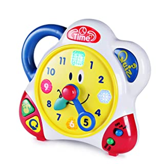 Happkid Teaching Clock Time Learning for Kids, Happy Hour Learning Toys with Quiz Mode and Interactive Music for Toddlers