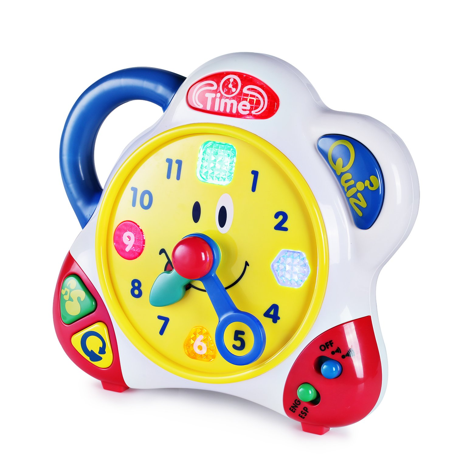 SainSmart Jr. HAP-P-KID Teaching Clock Time Learning for Kids, Happy Hour Learning Toys with Quiz Mode and Interactive Music