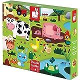 Janod J02772 Puzzle Géant Tactile les Animaux de la Ferme