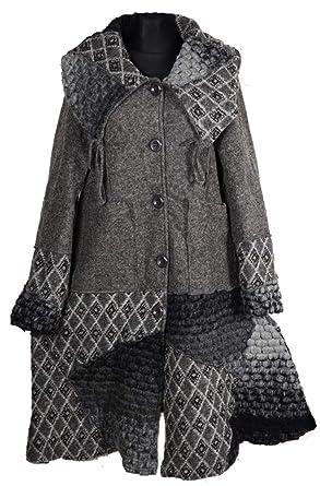 Damen Lagenlook Winter Übergang Wolle Mantel Swinger Trench
