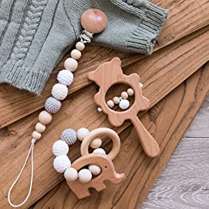 Biter Teether 3pcs Wooden Nursing Accessories Set Safe and Natural Elephant Teether Beads Ring Crochet Beads Universal Pacifier Clip Food Grade Wood Bar Hand Grip Bell Shaking Rattle Neutral Gift