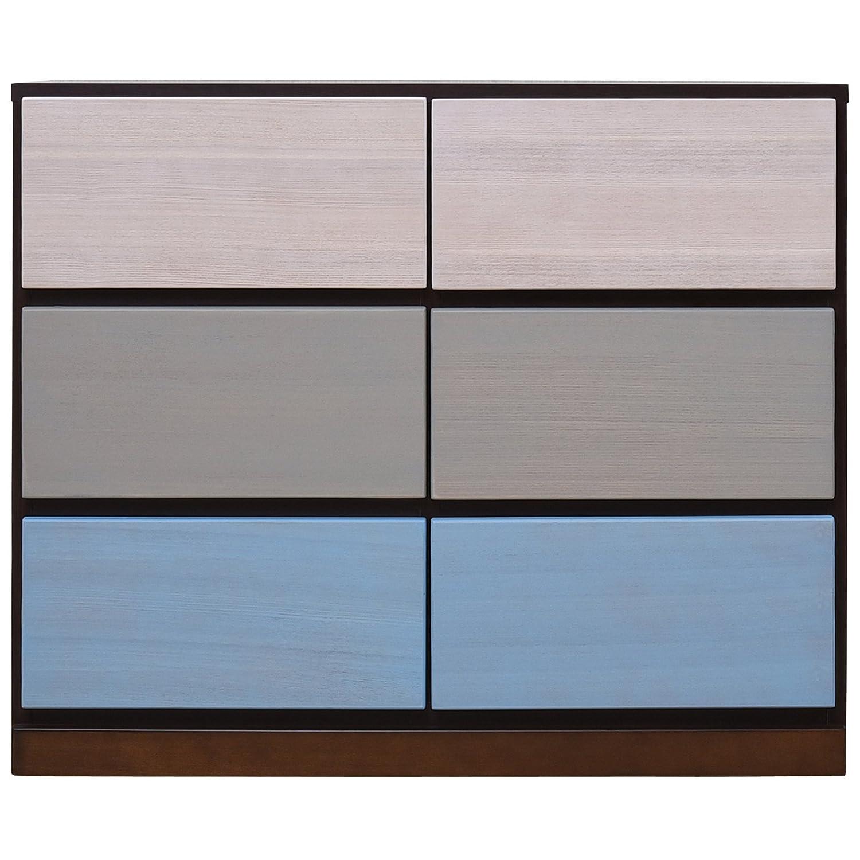 大川家具 アビライト 日本製 チェスト 天然木突板 カラーチェスト 幅90 ブラウンブルー EN-0070 B076ZPN5VK 幅90|ブラウンブルー ブラウンブルー 幅90