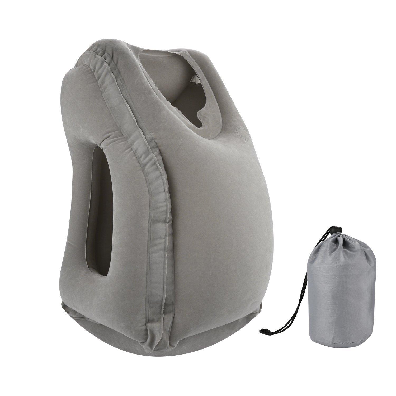 BONAIR OUTFITTERS Flugzeug Reisebett für Kinder, höhenverstellbar aufblasbares Bein Rest Kopfkissen. Ideal als Auto Sitz Fußstütze, Bein, Reisebett für Kid. hellgrau